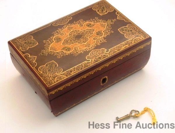 Vintage Signed Bari Italy Gilt Leather Locking Jewelry Box With Key Jewelry Box With Lock Leather Jewelry Box Key Jewelry