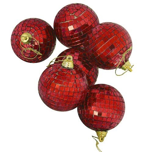 Vickerman 6 Count Lust Red Mirrored Glass Disco Ball Christmas