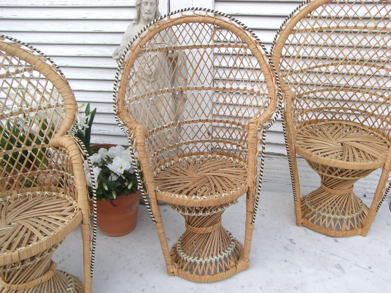 2x 70er Miniatur Stuhl Pfauenthron Puppenstuhl Blumenbank Peacock