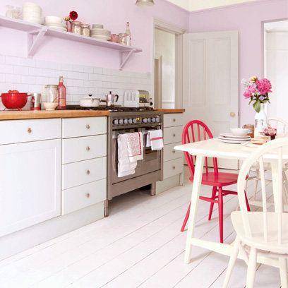 Pastel Pink Kitchen White Painted Floorboards