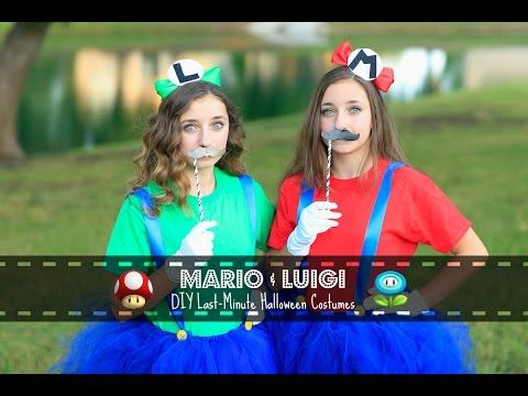 the girls will be making this for their costumes for school. :) Mario & Luigi   Last-Minute DIY Halloween Costumes - YouTube #mamp;mcostumediy