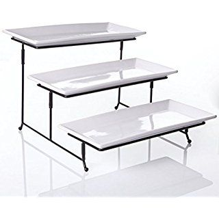 3 Tier Collapsible Thicker Sturdier Plate Rack Stand With Plates Three Tiered Cake Serving Tray Dessert Fruit Presentation Par Serving Platters Cake Tray Rectangle Plates