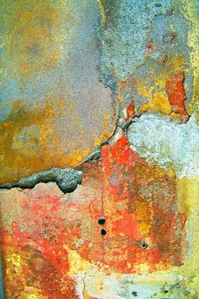 "Santa Marguerita, Abstract Photograph of an Italian wall printed on Canvas. Looks like abstract painting 30"" x 40""."