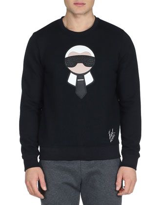3d35b6e026a Karlito+Studded+Crewneck+Sweatshirt,+Black+by+Fendi+at+Bergdorf+Goodman.