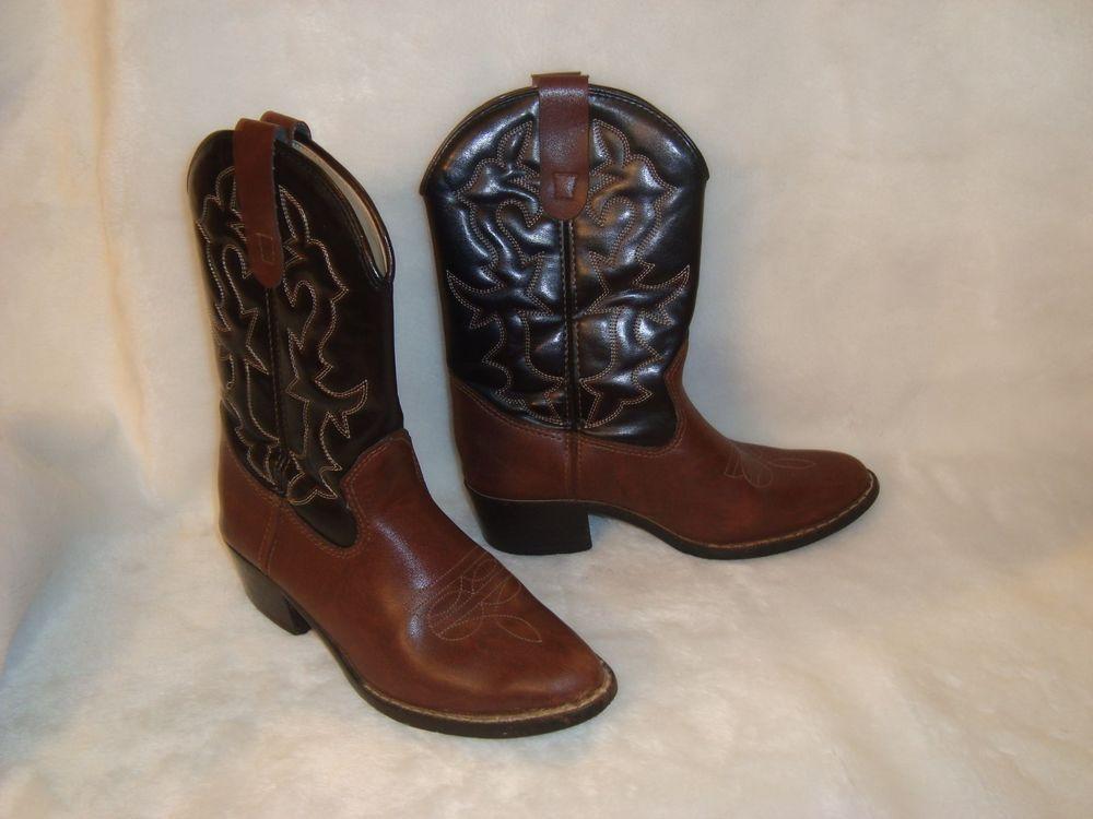 C Walker Sz 5 US 24 Mex 375 EU Men's Boy's Cowboy Western Boots Black & Brown #CWalker #CowboyWestern