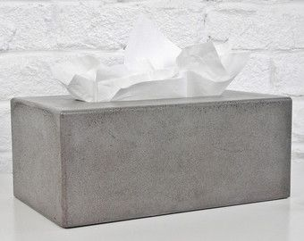 Concrete Tissue Box Cover Etsy Kleenex Tissues Covered Boxes Tissue Box Covers