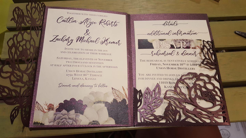 Tri Fold Peonies 5x7 Wedding Invitation Pocket Envelope Svg Template