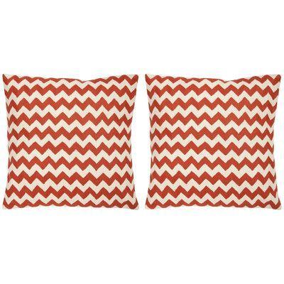 """Safavieh Jace Cotton Throw Pillow Color: Orange Sunburst, Size: 18"""" H x 18"""" W"""