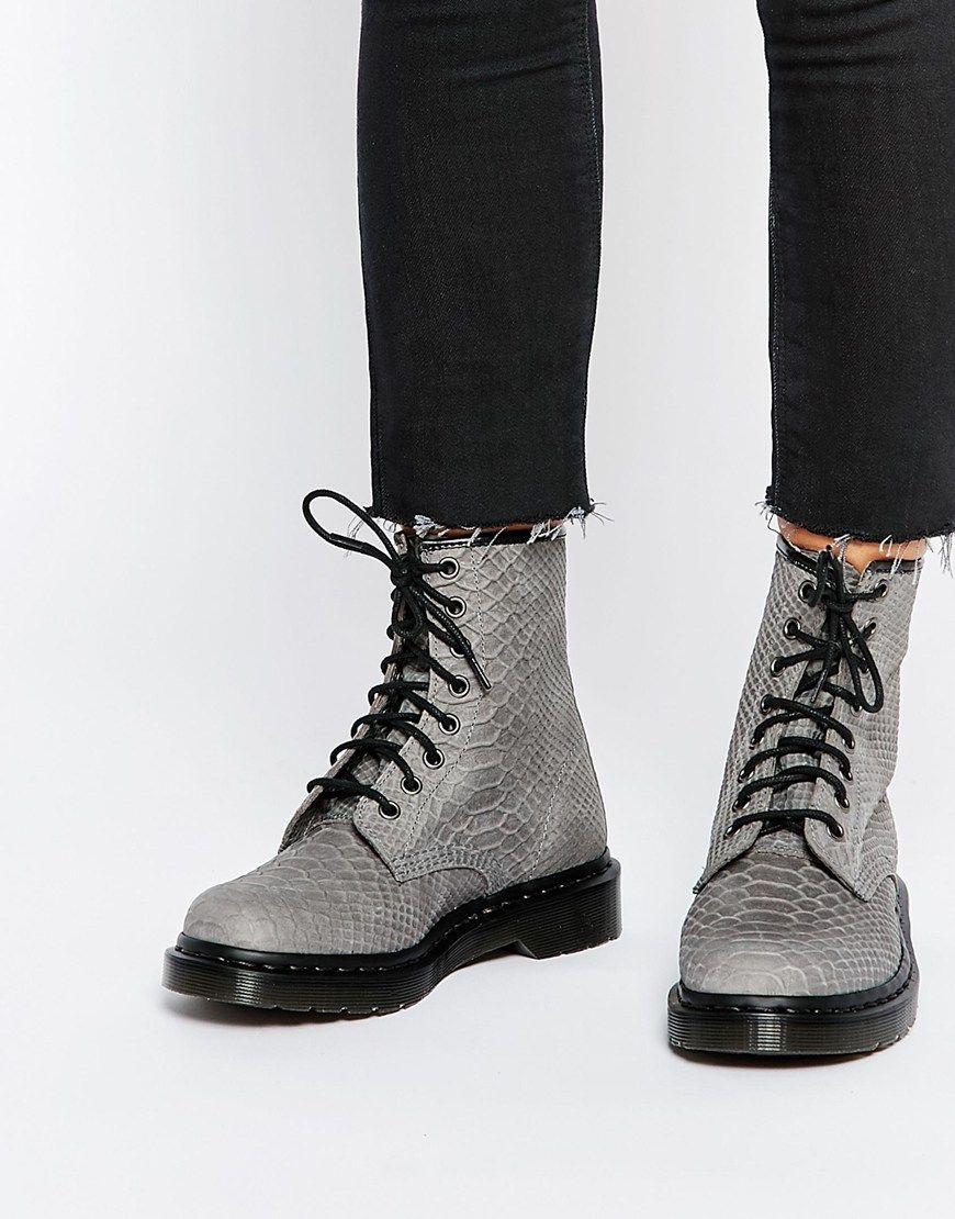 Reptilian patterns: Dr. Martens grey python 1460 combat boots. Photo: asos.