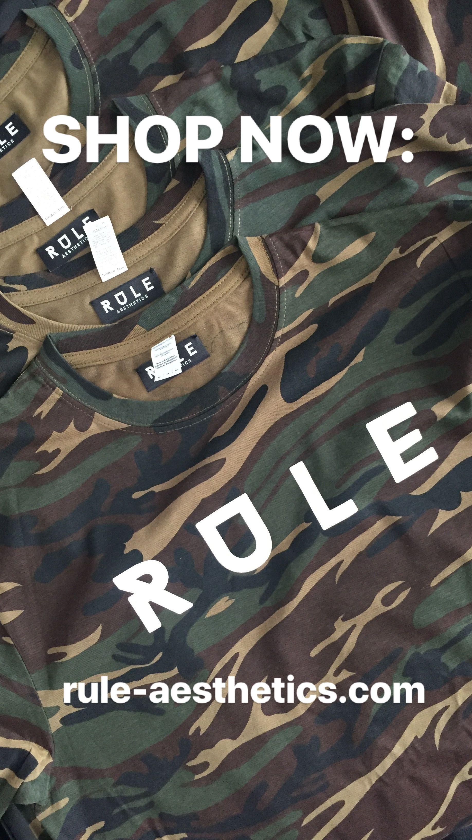 Rule Aesthetics Black Camouflage White T Shirt Fashion
