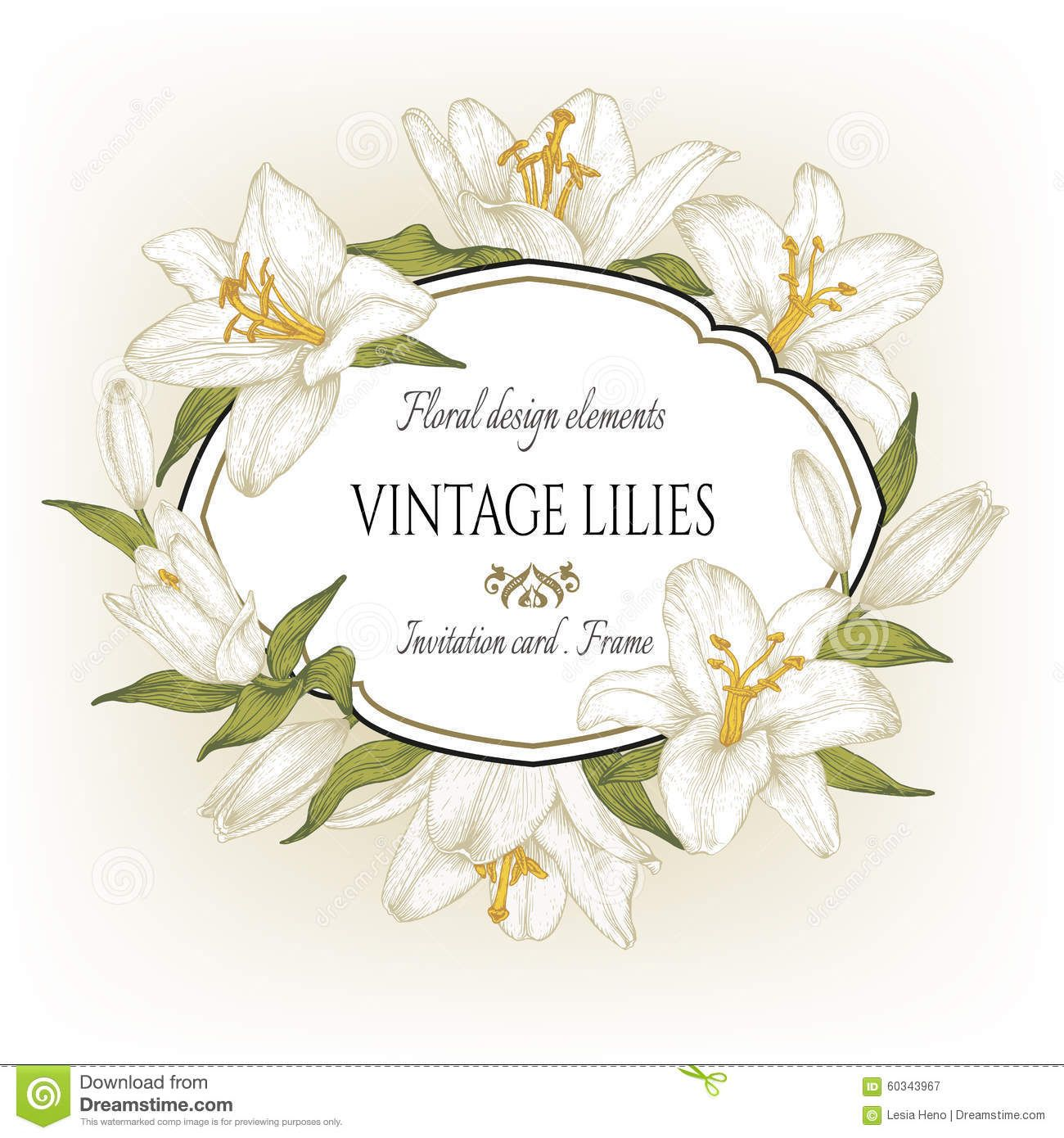 Tarjeta Floral Del Vintage Con Un Marco De Los Lirios Blancos ...