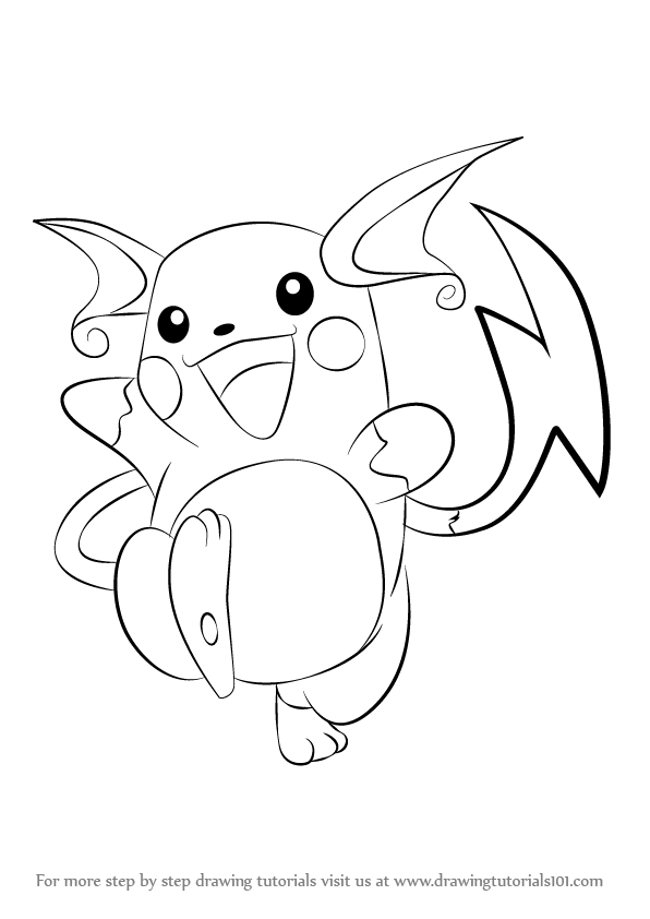 How To Draw Raichu From Pokemon Drawingtutorials101 Com Pokemon Coloring Pokemon Drawings Pokemon Coloring Pages