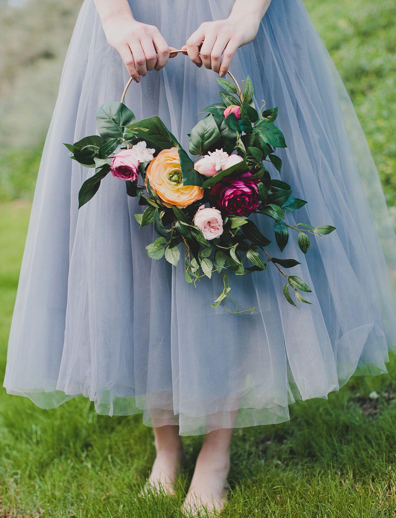 How to DIY a Silk Flower Hoop Bouquet Bridesmaid flowers
