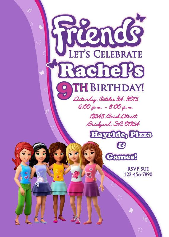 Lego Friends Inspired Birthday Invitation By ParchmentSkies