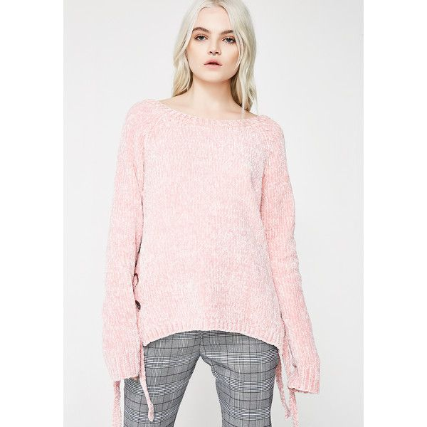 Lace Up Pink Sweater ($22) ❤ liked on Polyvore featuring tops ...