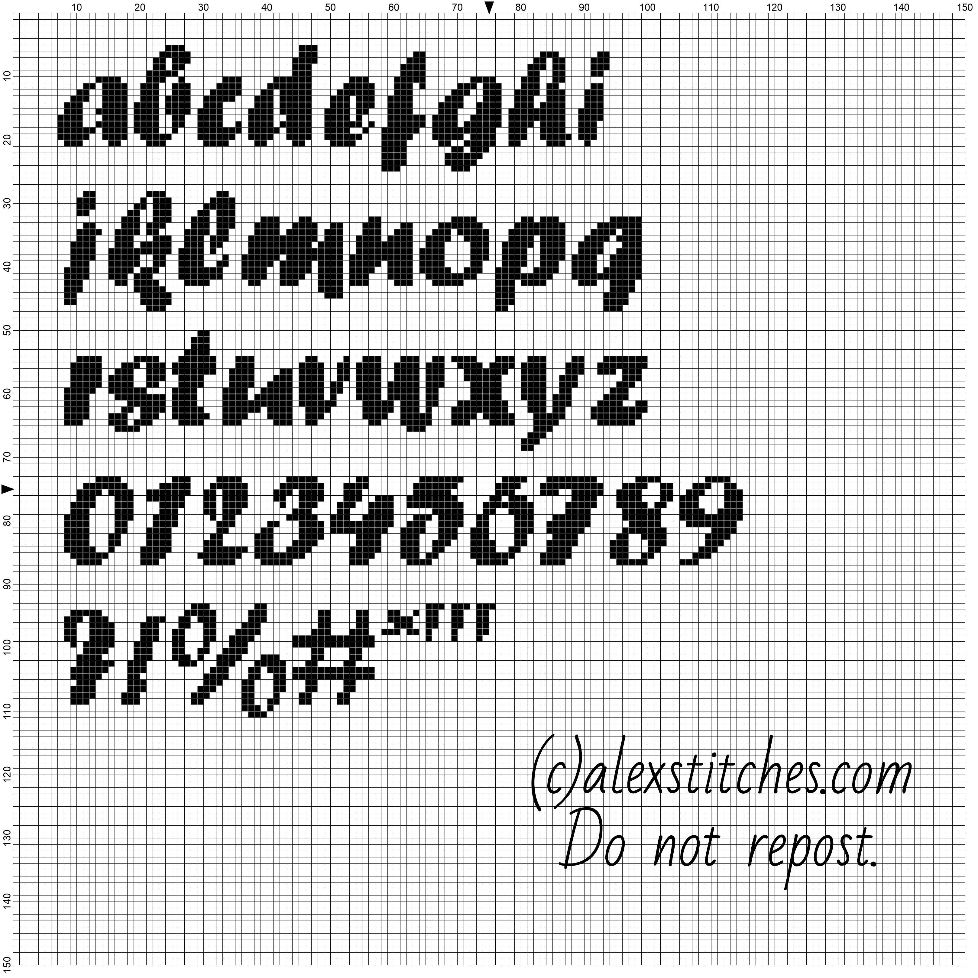 Cross stitch alphabet forte font lowercase letters numbers and special characters