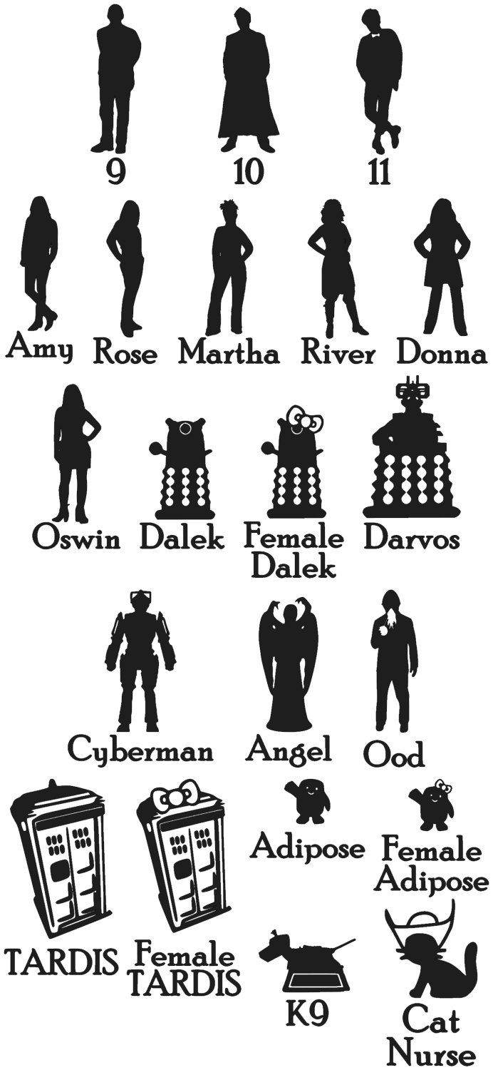 The Doctor S Family Car Sticker Set Of 4 Etsy Family Decals Family Car Stickers Doctor Who [ 1500 x 692 Pixel ]