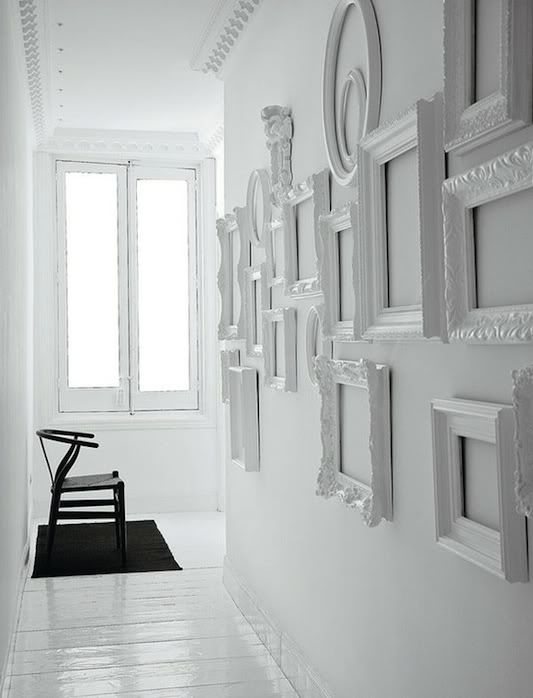 Spray paint a wall of frames to match any wall color! Photo frames ...