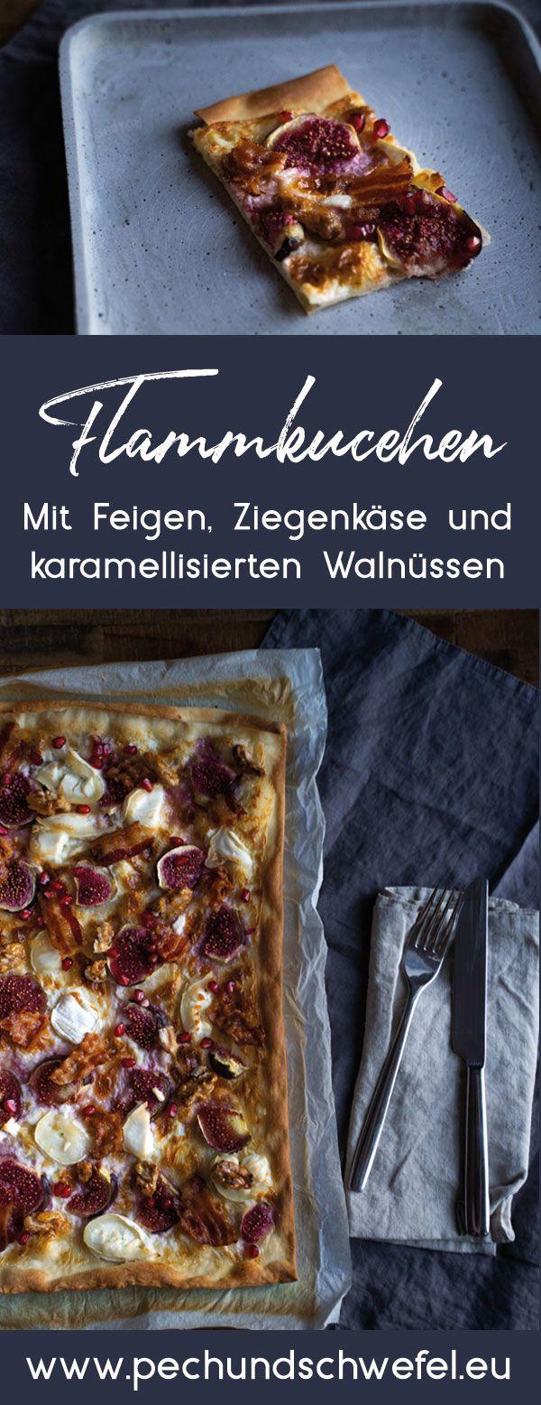 20 Minuten Deluxe-Flammkuchen - mit Feigen, Ziegenkäse und karamellisierten Walnüssen #peanutrecipes