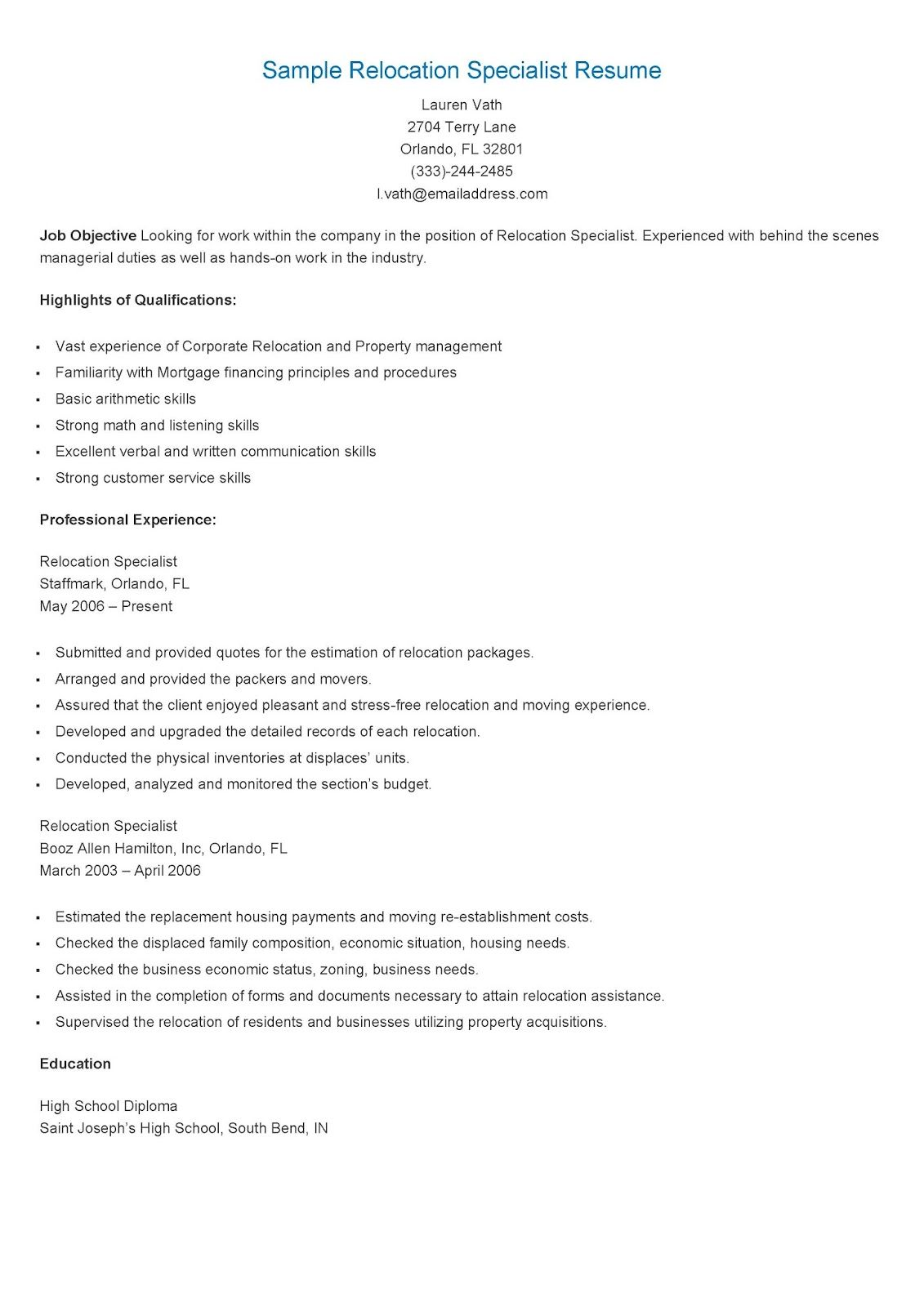 sample relocation specialist resume