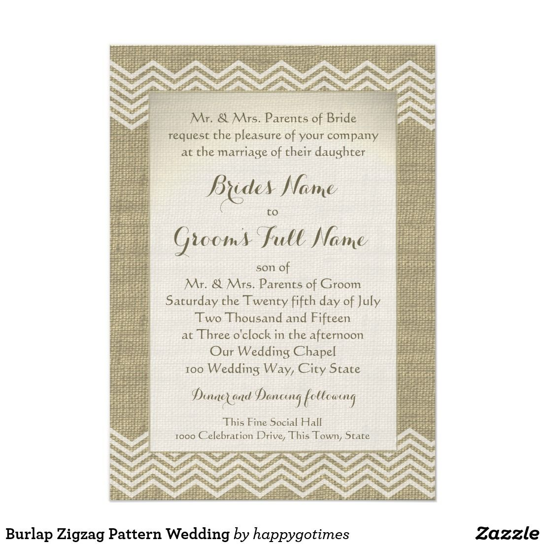 Burlap Zigzag Pattern Wedding Card The printed look of burlap with a ...