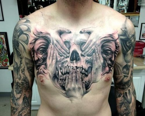 chest tattoo ideas skull designs - Tattoo Idea Designs