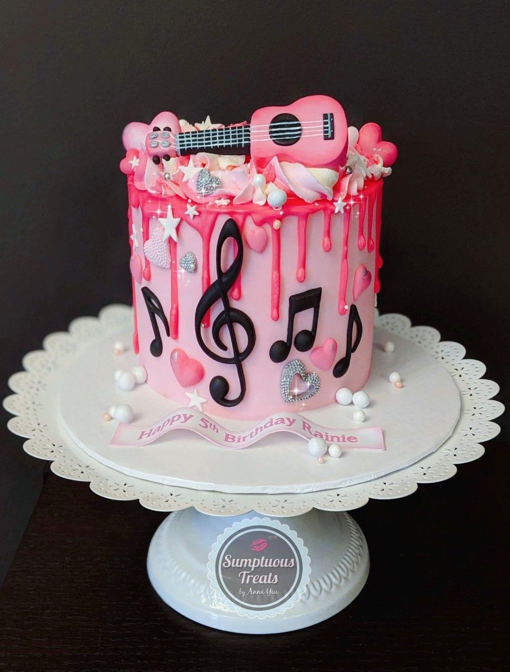 Amazing Pink Ukelele Music Themed Cake Passionforpink Ukelele Personalised Birthday Cards Akebfashionlily Jamesorg
