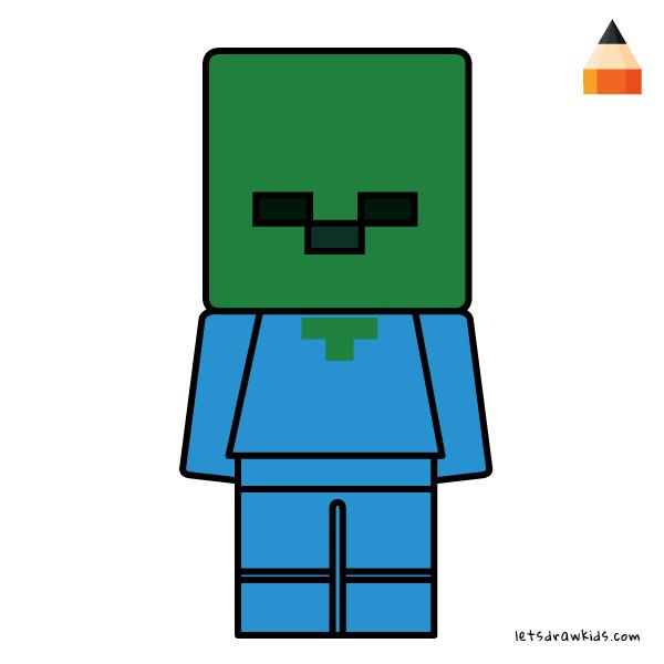 How To Draw Minecraft Lego Minifigures Baby Zombie Cartoon Drawings Baby Zombie Drawings