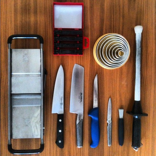 Tools on deck!: #Mandoline, #Tojiro #Santoku, Global G-5 vegetable #knife, Dick #boning knife Global GSF-15 peeling knife, #julienne peeler, sharpening steel & #pastry #cutter set