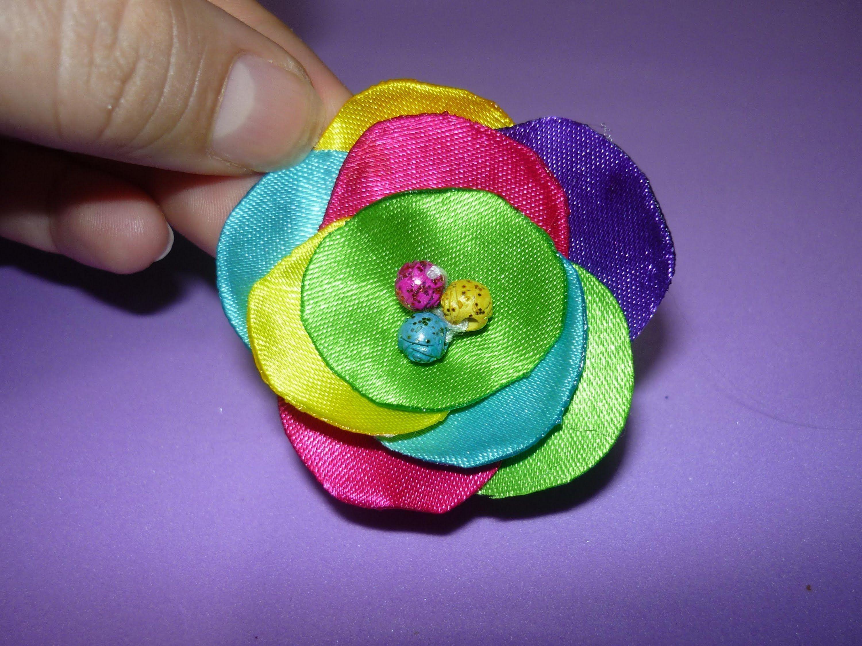 como hacer flores redonda en tela o cinta oara niñas No.113 ...