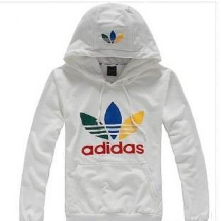 Adidas white hoodie red lettering with blue, green, and