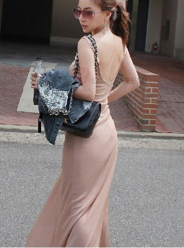 Pure Color Comfortable Backless Loose Maxi Dress Pink - BuyTrends.com
