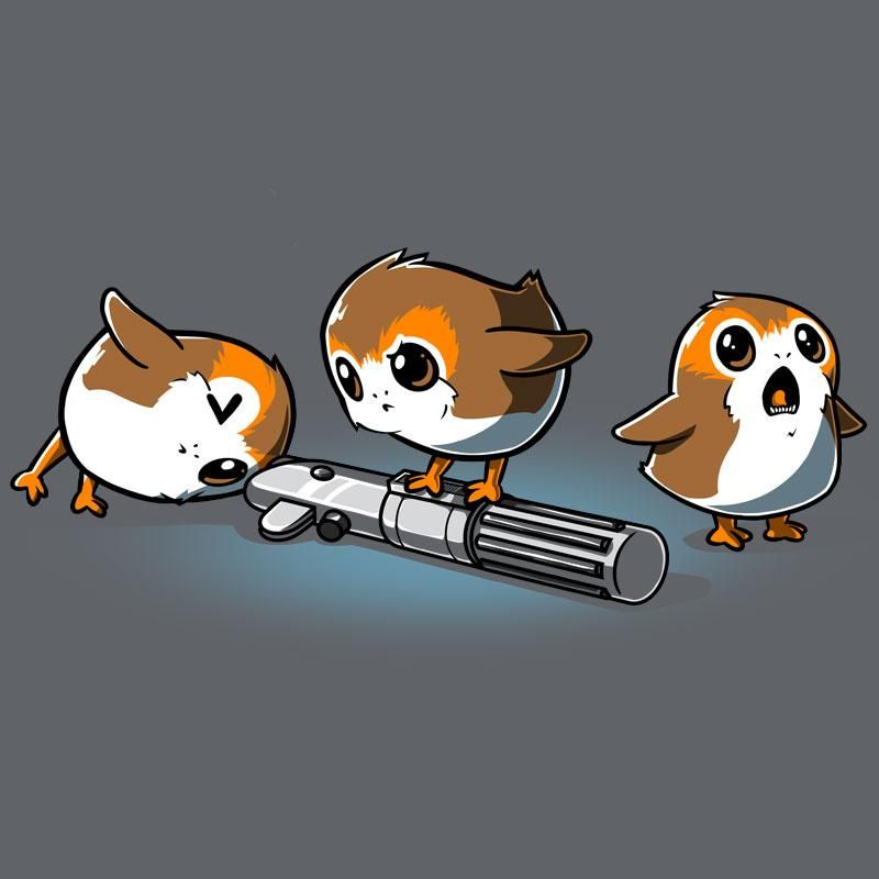 Curious Porgs - T-shirt Mens Star Wars Funny Shirts