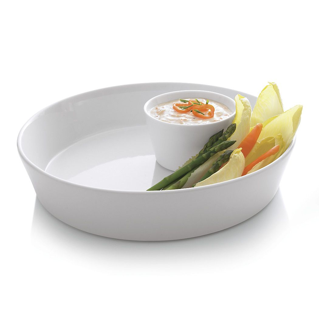 White Ceramic TAPAS DISH WITH HANDLE Al Fresco Dining Platter Dip Snacks Bowl