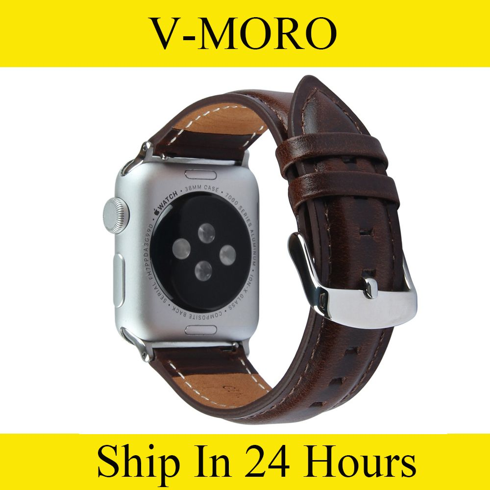 Click to Buy    V-MORO Genuine Leather Watch Band For Apple Watch ... 7a4f77fdfcb
