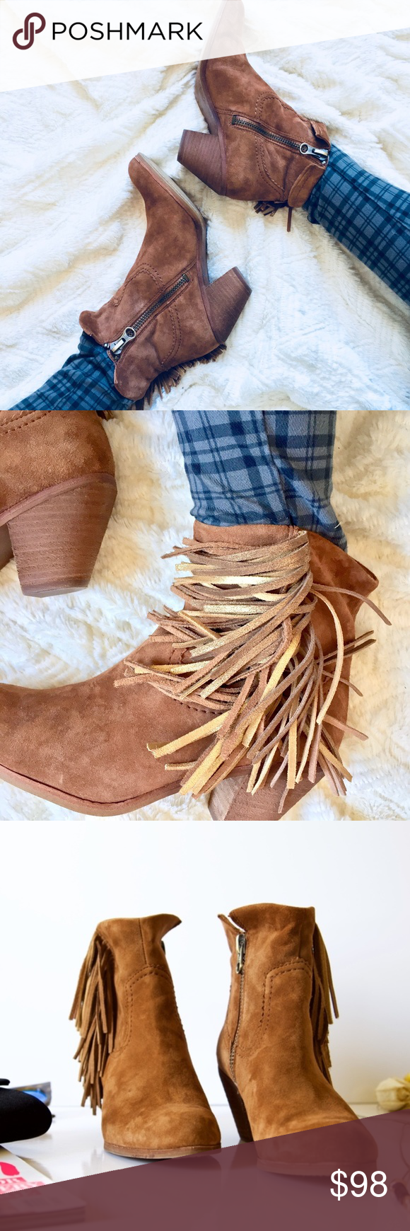 b66b8929e Sam Edelman Louie Fringe Bootie in Soft Saddle Western inspired ankle  booties with gold