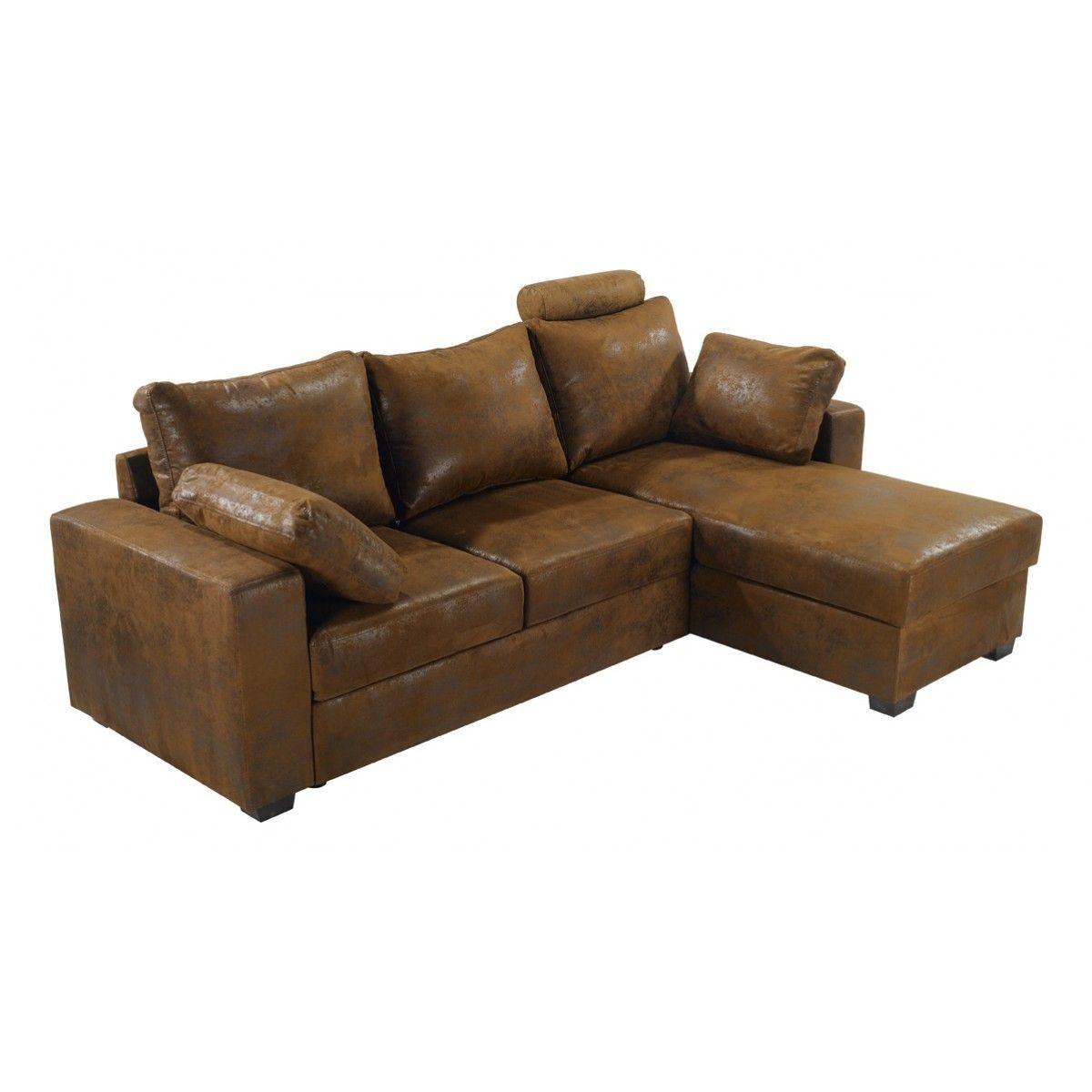 canap d 39 angle convertible microfibre chocolat oslo. Black Bedroom Furniture Sets. Home Design Ideas