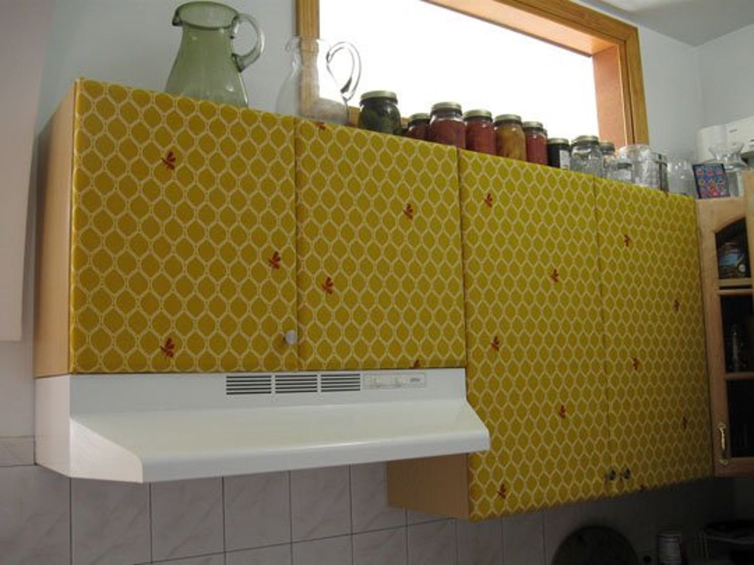 How To Cover The Kitchen Cabinets In Fabric Contact Paper Kitchen Cabinets Countertop Makeover Kitchen Cabinets Cover