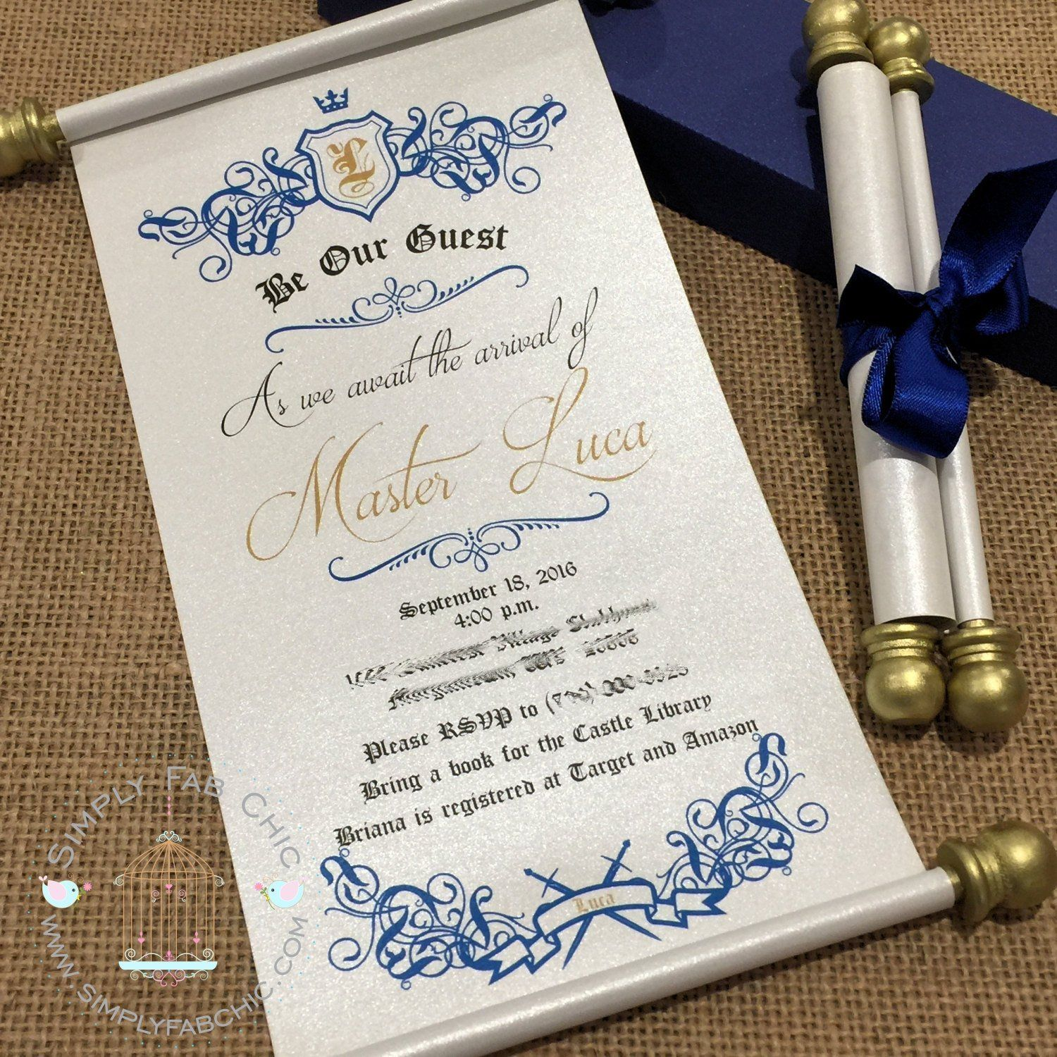 Royal Prince Baby Shower Scroll Invitation Blue Gold In 2019