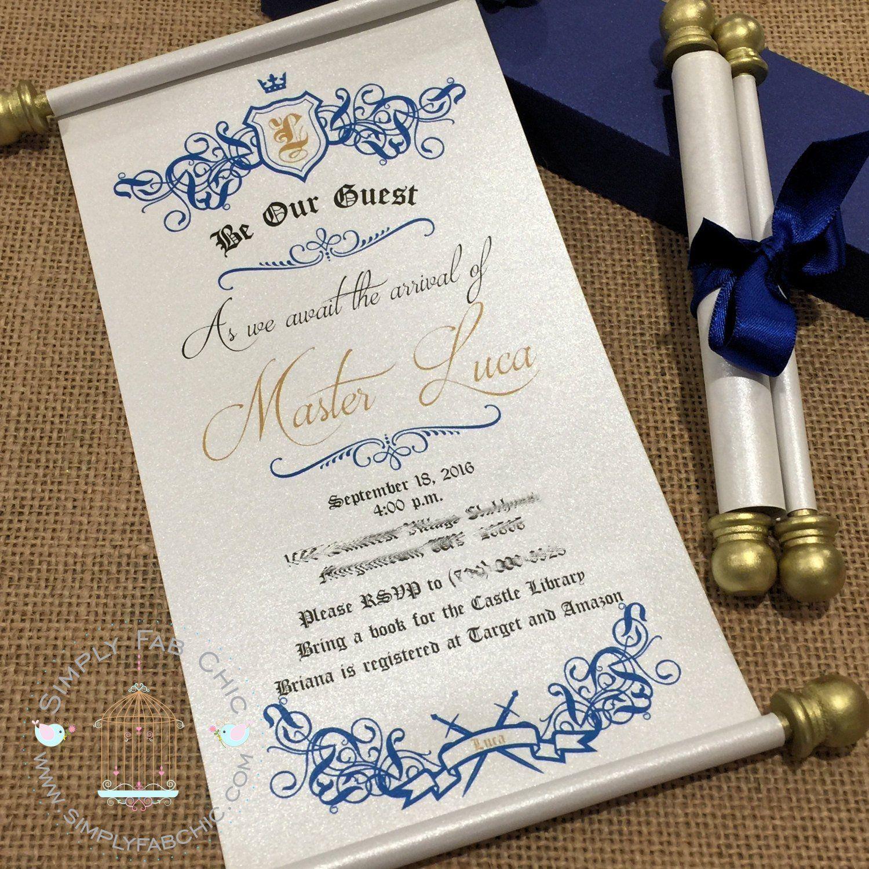 Baby Blue Wedding Invitations: Royal Prince Baby Shower Scroll Invitation Royal Blue