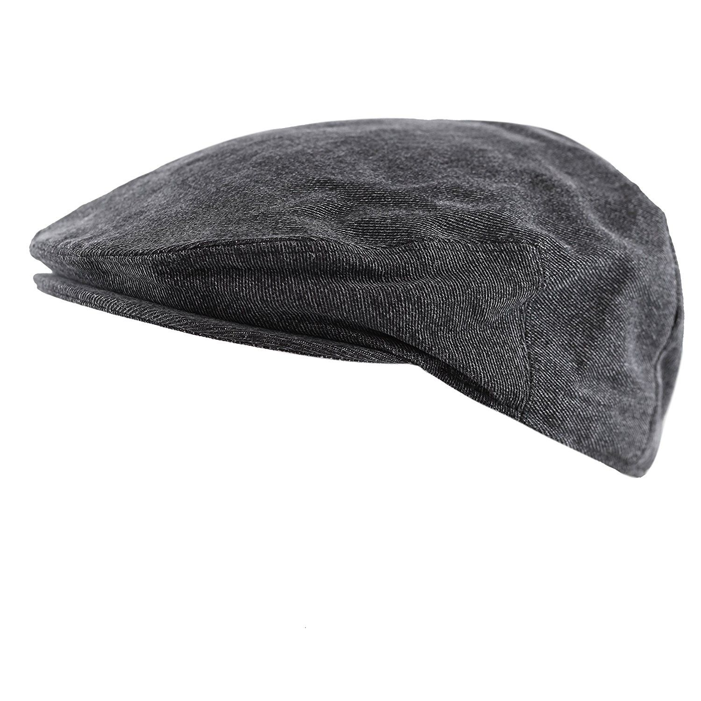 2874e5aaef17c Washed Denim Cotton newsboy IVY Cap Style Hat - Black - CQ12O8XHI8X ...