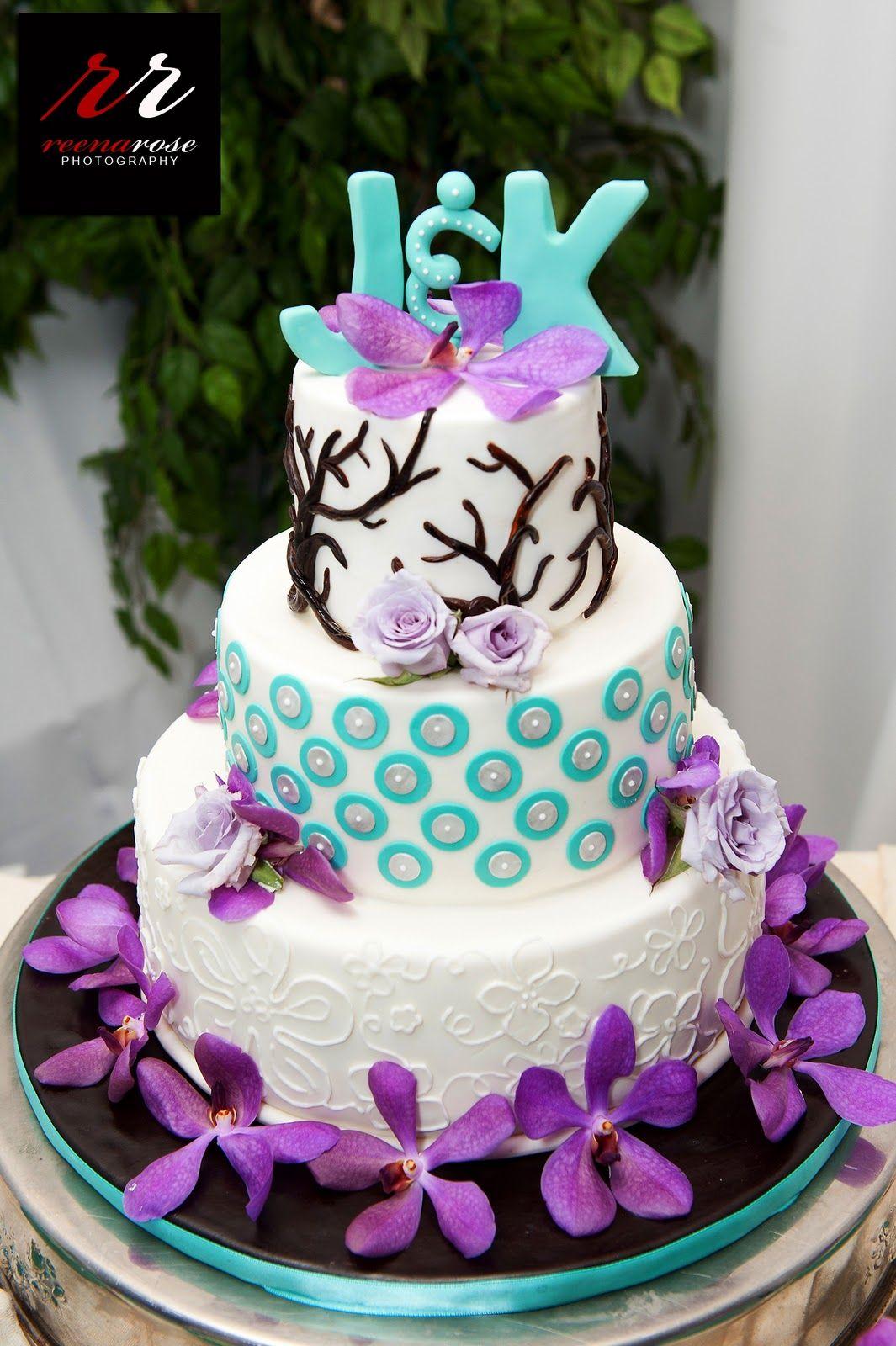 Wedding Decorations Orange Purple Turquoise Cake Reference For
