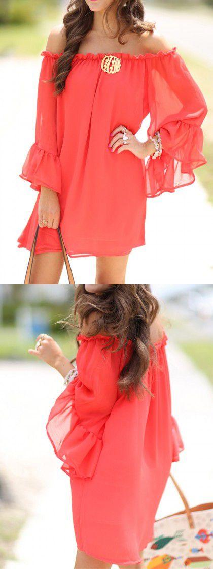 India Red Off Shoulder Flare Sleeve Flounce Hem Dress