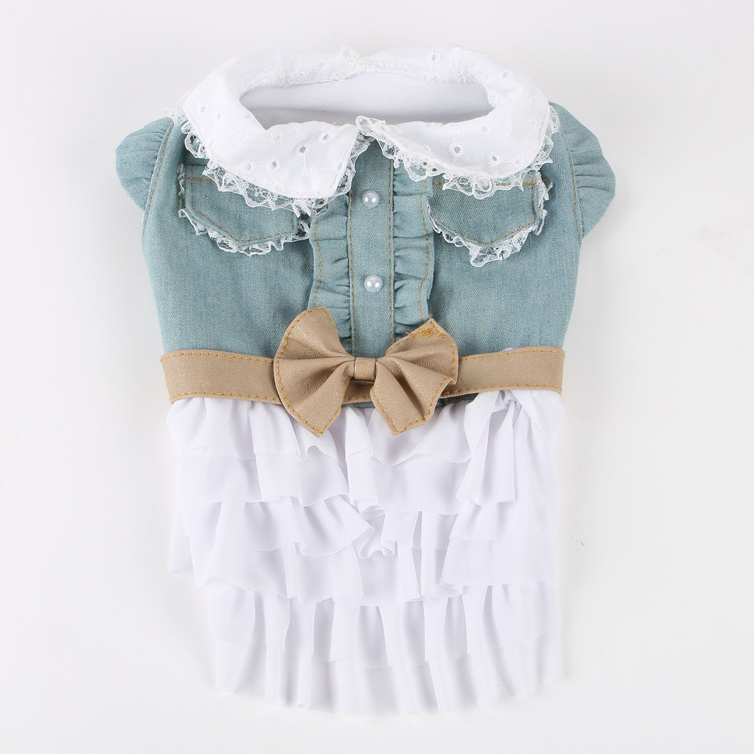 Commoditier denim lace dog cat skirt cute puppy summer dress girl