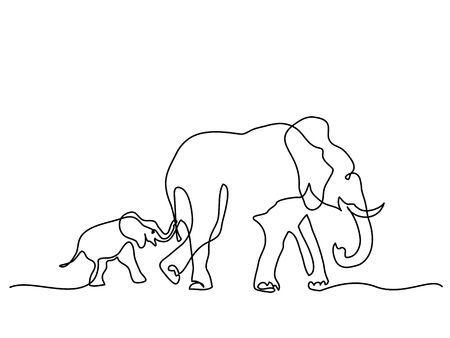 Kontinuierliches Strichzeichnen. Elefantmutter mit gehendem Symbol des Babys