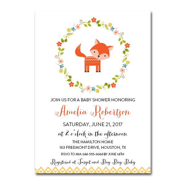 Editable Baby Shower Invitation Woodland Fox PDF Printable Instant - editable baby shower invitations