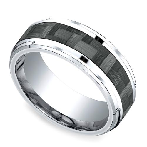 Beveled Carbon Fiber Men S Wedding Ring In Cobalt Wedding Rings