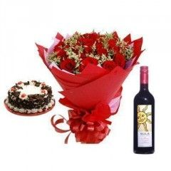 Winecakeflowers For Birthday Gifts Delivery In Hyderabad
