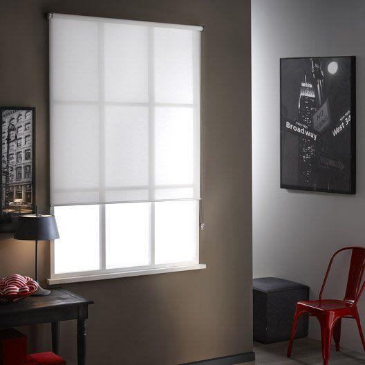 Store enrouleur tamisant polyester Mesh blanc, 80/84 x 250 cm - store pour fenetre interieur