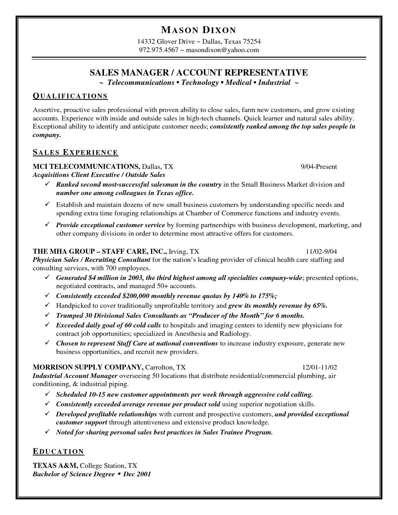 Quick Learner Resume  Inside Sales Resume Sample Mason Dixon